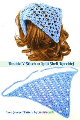 Kerchief shown from the back of the head as well as laid flat.