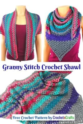 A collage of images showing off a crochet wrap worked up in a self-striping yarn.