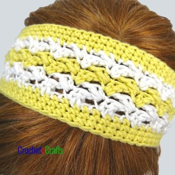 Headband pattern shown from the top of the head.