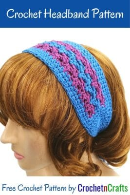 Headband shown in purple and blue.