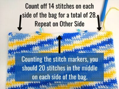 This image shows how to mark off your bag for the handles.