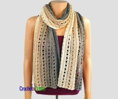 The wrap worn as a cozy winter scarf.