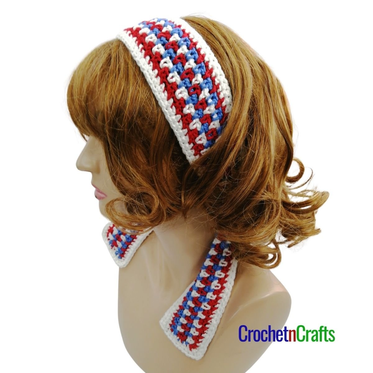 Striped crochet headband pattern shown in red, white and blue colors.