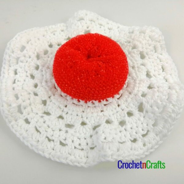 Here is the wrong side where you can see the scrubby attached to the cotton dishcloth.