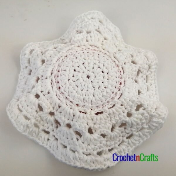 This image shows the top of the scrubbie dishcloth.