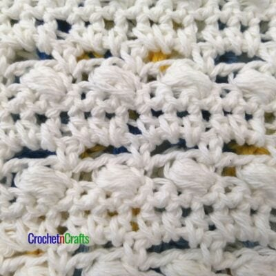 Crochet stitch pattern shown from the right side.