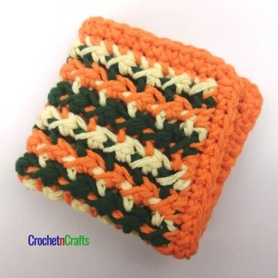 Textured dishcloth crochet pattern shown in three colors.