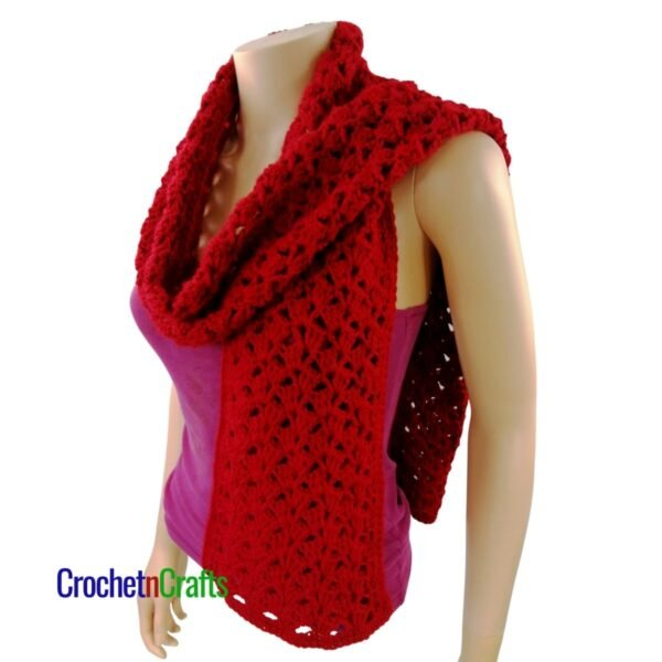 A quick crochet scarf pattern is shown casually draped over the shoulders.